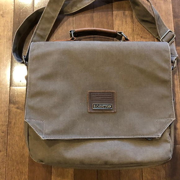 7ff9d19618 S.C. COTTON Vintage Canvas Leather Travel BackPack.  M 5c68b772a31c33b8daaf5241